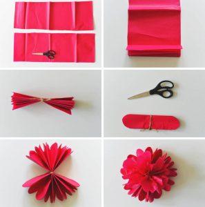 cara membuat bunga dari kertas kado