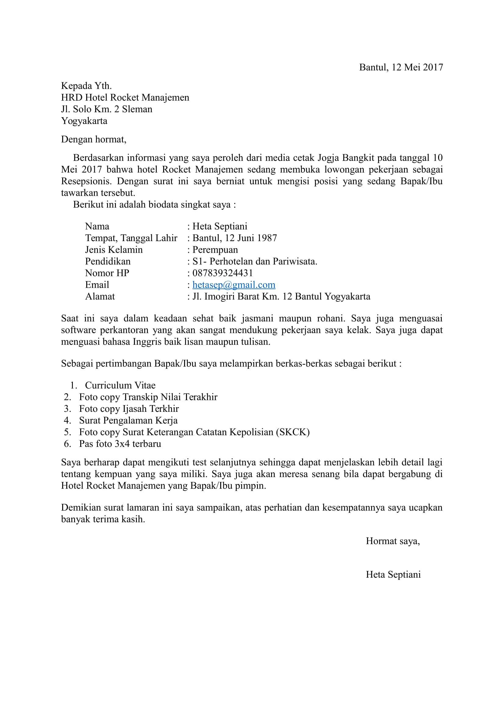 Contoh Lamaran Kerja Hotel Via Email