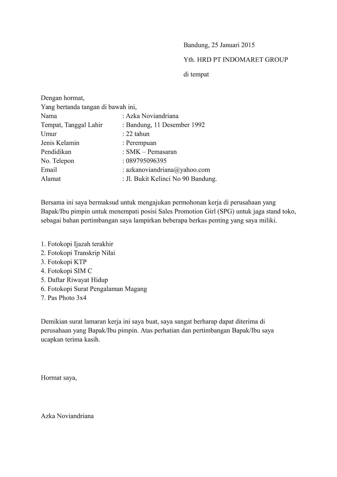 20++ Contoh surat lamaran kerja indomaret 2021 terbaru terbaik