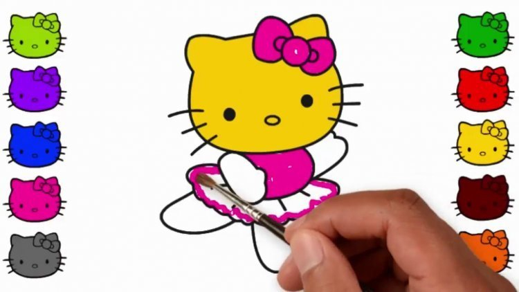 mewarnai hello kitty dengan cat air