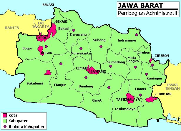 peta jawa barat lengkap dengan nama kabupaten